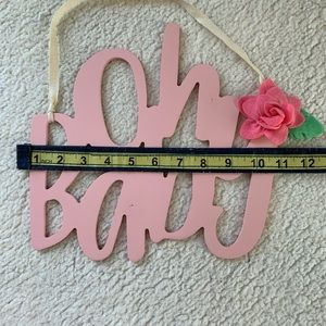 "Accents - Pink ""Oh Baby"" Wooden Hanging Decor Sign"
